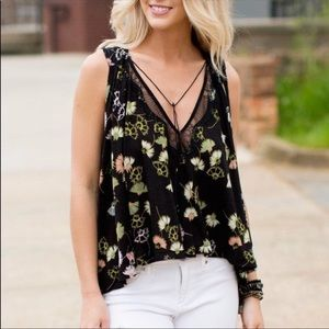 Free People Sleeveless Split Back Floral Swing Top